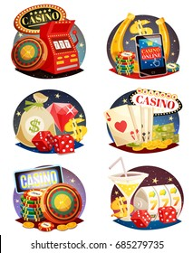 Casino decorative compositions isometric design elements with slot machine playing cards roulette and chips  isolated vector illustration