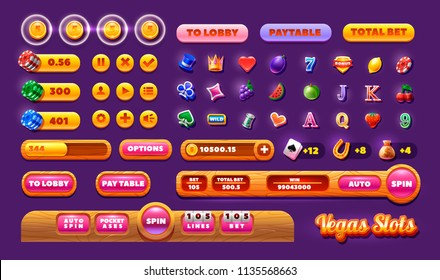 Casino design elements vector collection. Slots Gameplay icon and buttons - Mobile Game Assets.