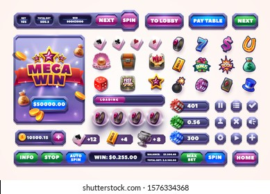 Casino design elements vector collection. Slots Gameplay icon and buttons. Mobile Game Assets on a white background.