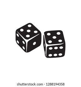 Casino Dice Icon In Flat Style Vector Icon For Apps, UI, Websites. Black Icon Vector Illustration.