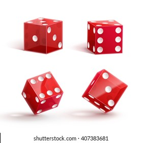 casino dice, icon,  isolated on white, 3d object, red, with shadow.