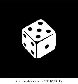 Casino Dice Icon On Black Background. Black Flat Style Vector Illustration.