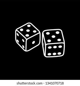 Casino Dice Line Icon On Black Background. Black Flat Style Vector Illustration.