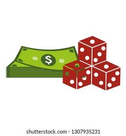 casino dice with money icons