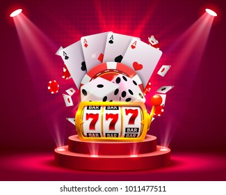 Casino dice and poker slots banner signboard on background. Vector illustration