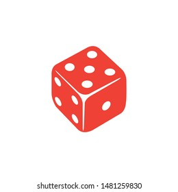 Casino Dice Red Icon On White Background. Red Flat Style Vector Illustration.