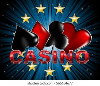 Casino elegant logo from poker cards symbols
