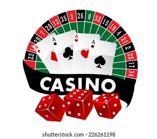 Casino emblem or badge with a roulette table and playing cards above a banner saying Casino and three red dice, vector illustration