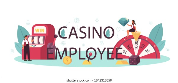 Casino employee typographic header. Dealer in casino near roulette table. Person in uniform behind gambling counter. Casino game business. Isolated vector illustration