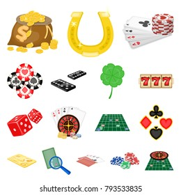 Casino and equipment cartoon icons in set collection for design. Gambling and money vector symbol stock web illustration.