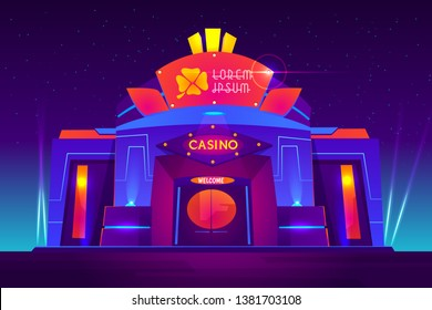 Casino exterior with neon lights. Gambling house front view with clover sign on entrance. Modern architectural building for games of chance and entertainment, Las Vegas. Cartoon vector illustration