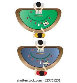 Casino furniture , Blackjack table top view set 3 for interior, vector illustration