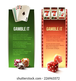 Casino gamble it vertical banners set with cards chips slot machine dice isolated vector illustration