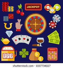 Casino gambler game vector icons poker symbols and casino blackjack cards gambler money winning icons with roulette gambler joker slot machine winner jackpot concept