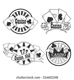 Casino and gambling badges or emblems each with word  Casino decorated with a hand of aces playing cards, dice, roulette board, casino chips or tokens and lucky number 777