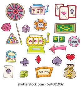 Casino and gambling cartoon elements set. 3d style. Bright colors. Vector illustration