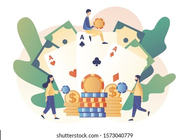 Casino and Gambling Concept. Tiny people gaming gambling games and bet. People play Poker. Poker Cards. Modern flat cartoon style. Vector illustration
