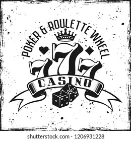 Casino gambling emblem on textured background vector illustration