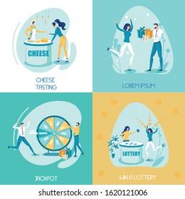 Casino Gambling Game Flat Social Media Banners Set. Jackpot Wheel, Bonus Prize. Gamblers Winners Cartoon Characters. Cheese Tasting Idea, Food Degustation. Holiday Present Boxes, Gifts