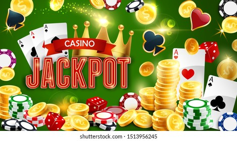 Casino gambling game, jackpot and poker playing cards. Vector chips and golden coins, dices and royal crown. Money stakes, entertainment club, aces suits hearts, spades, diamonds and clubs