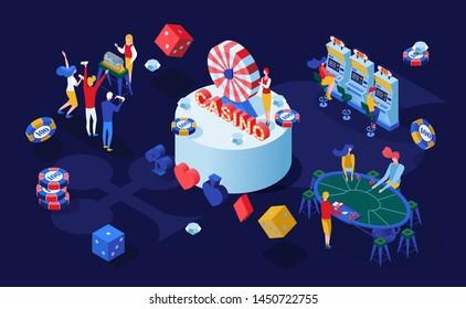 Casino gambling games isometric vector illustration. Gamblers playing poker, blackjack card games and bingo lottery 3D characters. Gambling business, addictive entertainment color drawing