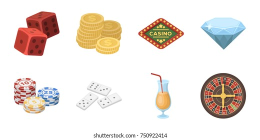 Casino and gambling icons in set collection for design. Casinos and equipment vector symbol stock  illustration.