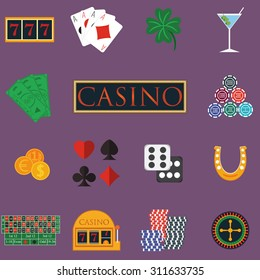 Casino and gambling icons set with slot machine and roulette, chips, poker cards, money, dice, coins, horseshoe flat design vector illustration.