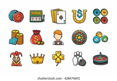 Casino and gambling icons set,eps10