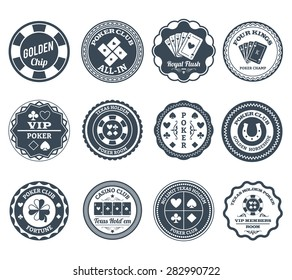 Casino gambling poker clubs golden chip and royal flush symbols black labels set abstract isolated vector illustration