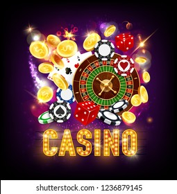 Casino gambling, roulette wheel and dice, luck and win. Vector play cards and poker chips, coins and signboard with light bulbs. Gamblers club with coins takes, online service