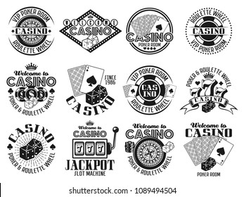 Casino and gambling set of twelve vector emblems, labels or badges in vintage monochrome style isolated on white background