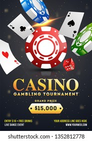 Casino Gambling tournament template design with realistic playing cards and casino chips on black bokeh background.