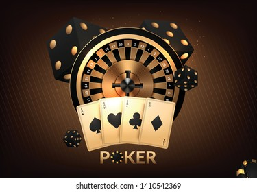 Casino Gambling tournament template design with realistic playing cards and casino chips on black bokeh background