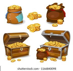 Casino and Game cartoon 3d money icons. Gold coins in moneybags and chests.Game design money items. Gold coins on white background.