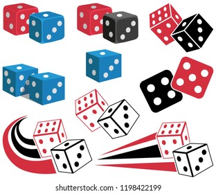 casino game icon, dices label, casino game sign, dices on white background, casino jackpot chips, dices logo, vector artwork