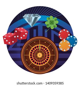 Casino games gambling leisure round sticker frame with roulette chips dice dimond and clover vector illustration graphic design