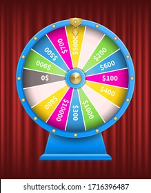 Casino games gambling vector, fortune wheel with numbers flat style. Playing on money, earning coins gaining wealth. Roulette with sectors segments