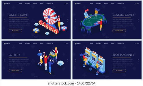 Casino games isometric landing pages set. Slot machines, lottery, classic casino entertainment website homepage templates pack. Online gambling and amusement business web banner color layout