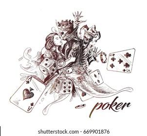 Casino Games - Poker, Hand Drawn Sketch Vector illustration.