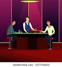 Casino, gaming house flat vector illustration. Cheerful men cartoon characters. People playing roulette. Casino interior decor. Gambling industry