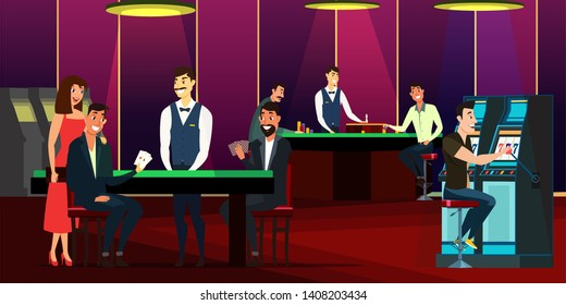 Casino, gaming house flat vector illustration. Cheerful men and woman in dress cartoon characters. People playing cards, roulette. Guy using slot machine. Casino interior decor. Gambling industry