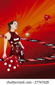 Casino girl likes the roulette