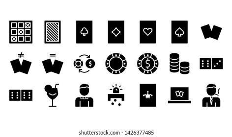 Casino glyph icon symbol set