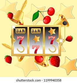 Casino. Golden slot machine wins the jackpot. Big win concept. Casino jackpot. Vector illustration