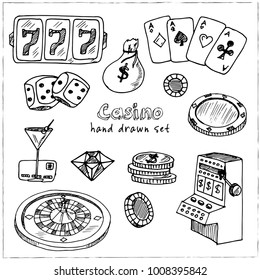 Casino. Hand drawn doodle set. Vector illustration. Isolated elements on white background. Symbol collection.