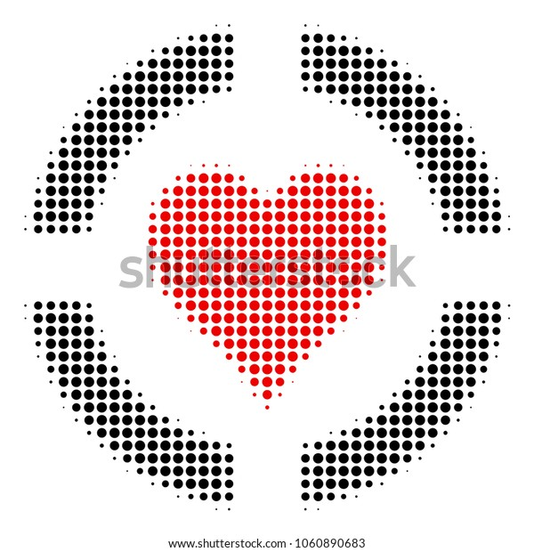 Casino Hearts halftone vector pictogram. Illustration style is dotted iconic Casino Hearts icon symbol on a white background. Halftone texture is circle spots.