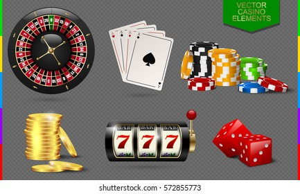 Casino icon isolated on transparent background. Chip, poker card, roulette, slot machine, coins money and red dice set