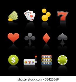 Casino Icon Set in Black. Vector in Adobe Illustrator EPS 8 for multiple applications.