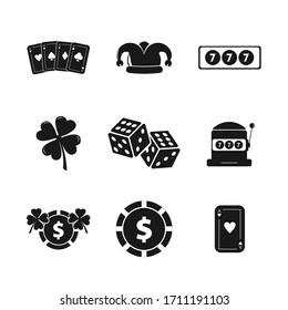 casino icon set with chip, game cards, dices, slot, jackpot, four leaf clover design element for illustration.