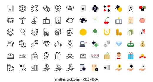 Casino icon set. Collection of high quality outline lottery pictograms in modern flat style. Black gambling symbol for web design and mobile app on white background. Winnig line logo.